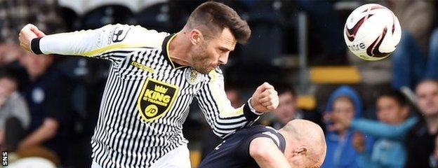 Steven Thompson in action for St Mirren against Dundee