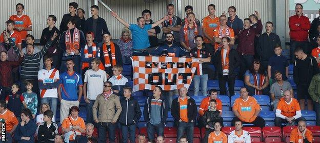 Blackpool fans protest at Wigan