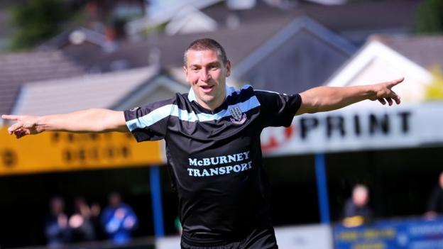 Matthew Tipton scored his first two competitive goals for Ballymena in their 3-0 win over Dungannon
