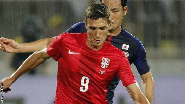 Stefan Scepovic in action for Serbia