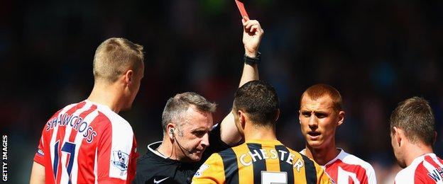 Hull's James Chester is sent off