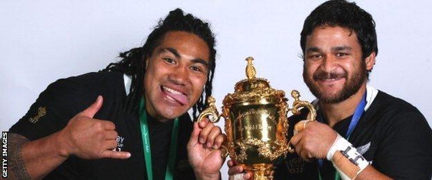 Weepu and All Black centre Ma'a Nonu celebrate winning the 2011 World Cup