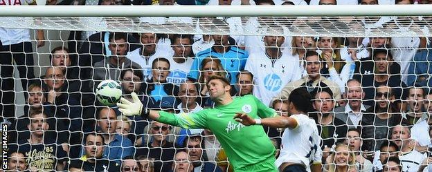 QPR goalkeeper Robert Green and Tottenham's Nacer Chadli