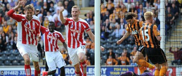 Stoke's Ryan Shawcross celebrates his late equaliser against Hull City