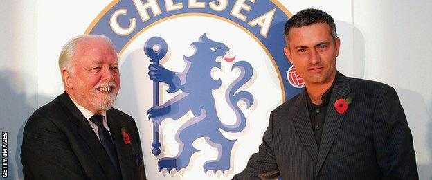 Lord Attenborough and Chelsea manager Jose Mourinho in 2004