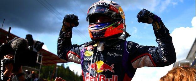Ricciardo celebrates his third win of the 2014 season