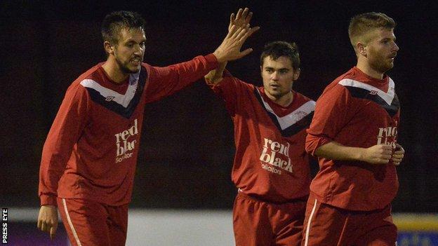 Chris Trussell [left] scored Ballyclare's winner against Linfield