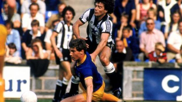 Nigel Pearson tackles Kevin Keegan in a Shrewsbury-Newcastle Division Two fixture, September 1982