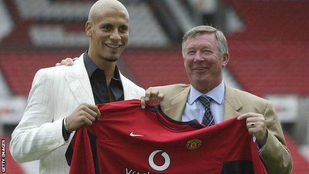 Rio Ferdinand with Sir Alex Ferguson