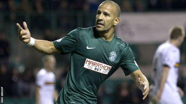 Hibernian's Farid El Alaguri celebrates his late on equaliser.