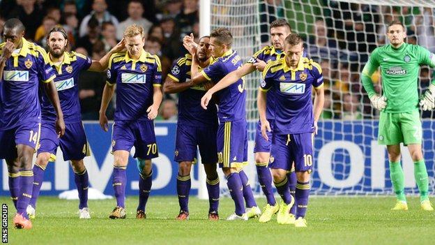 Maribor celebrate the goal from Marcos Tavares