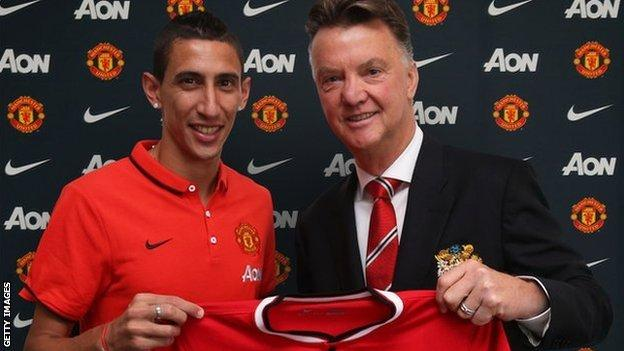 Angel Di Maria (left) with Manchester United boss Louis van Gaal