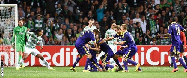 Maribor celebrate Marcos Tavares's strike at Celtic Park