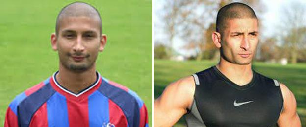 Gavin Heeroo pictured in his time at Crystal Palace (left), and in his current life as a fitness instructor