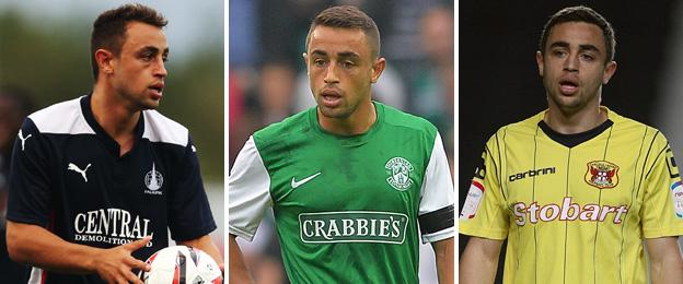 Tom Taiwo pictured playing for current club Falkirk (left) and previous clubs Hibernian (centre) and Carlisle (right)