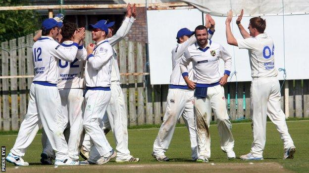 The North West Warriors celebrate their victory over the Northern Knights at Eglinton