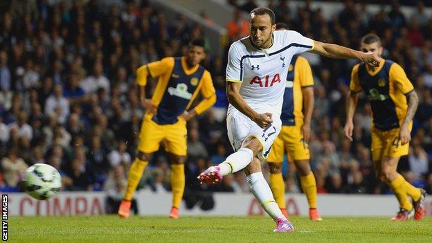Andros Townsend scores Tottenham's third goal against AEL Limassol