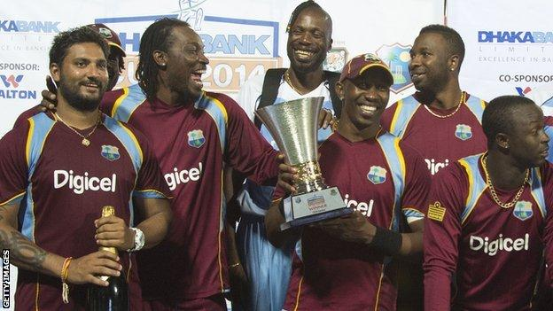 West Indies with the one-day series trophy