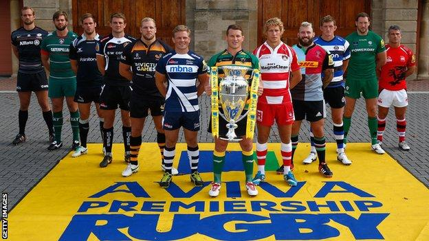 Dylan Hartley holds the trophy at the Premiership launch