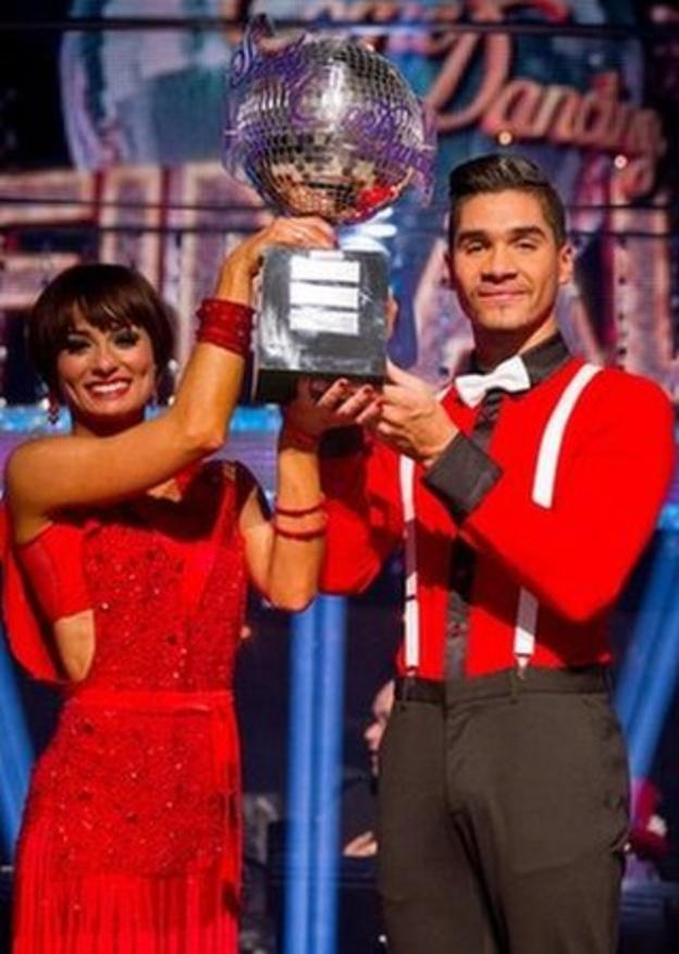Louis Smith and Flavia Cacace lift the 2012 Strictly Come Dancing trophy