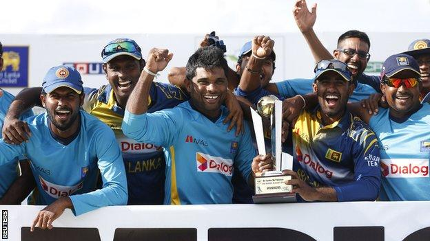 Sri Lanka with the one-day series trophy