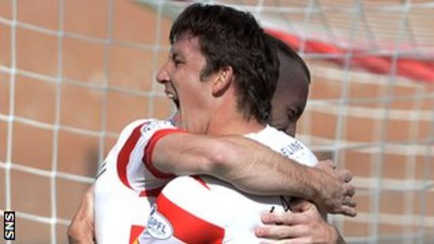 Martin Canning celebrates after scoring for Hamilton Academical against Ross County