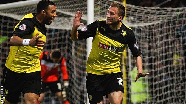 Almen Abdi's first two goals of the season helped Watford secure a 4-2 home win