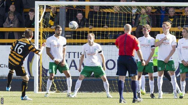 Iain Flannigan scores for Alloa Athletic against Hibernian