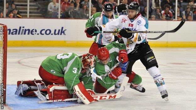 Belfast duo Darryl Lloyd and Adam Keefe battle with Cardiff's Ben Bowns in Saturday's game