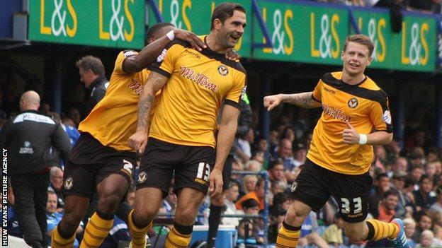 Andy Sandell celebrates after scoring against Portsmouth