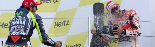 Valentino Rossi (left) and Marc Marquez