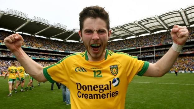 Donegal's double goal-scorer Ryan McHugh shows his delight after the final whistle blows in Dublin