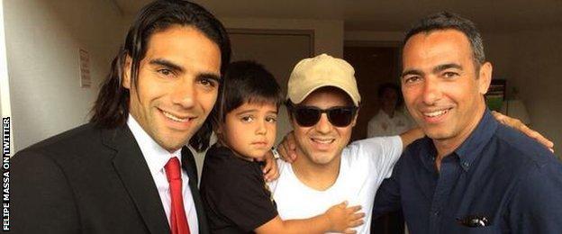Felipe Massa ((third left) with Monaco striker Radamel Falcao and ex-France international Youri Djorkaeff