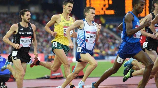 Chris O'Hare in action for Scotland in the 1500m final at the Commonwealth Games in Glasgow