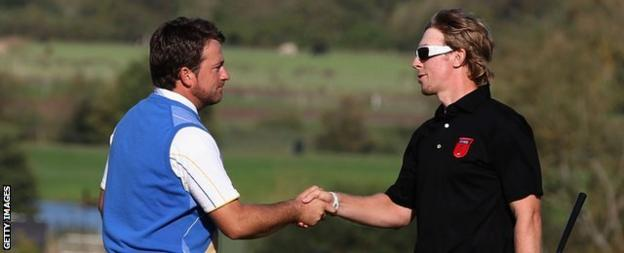 Graeme McDowell (left) congratulated by Hunter Mahan at Celtic Manor in 2010