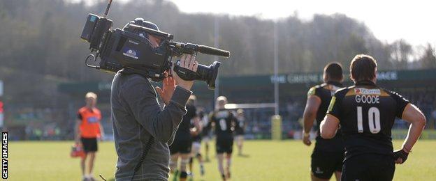 TV Camera at London Wasps V Saracens