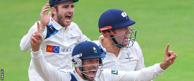 Yorkshire celebrate at Old Trafford