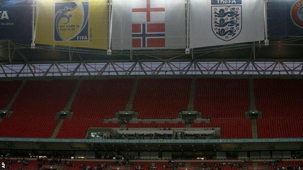 Crowd at England v Norway at Wembley Stadium