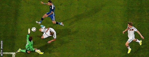 Angel Di Maria scores for Argentina against Germany
