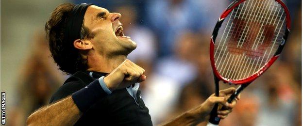 Roger Federer of Switzerland celebrates