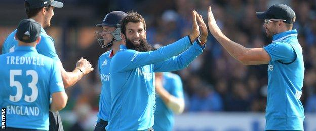 Moeen Ali took two wickets with his off spin, dismissing Shikhar Dhawan and Suresh Raina