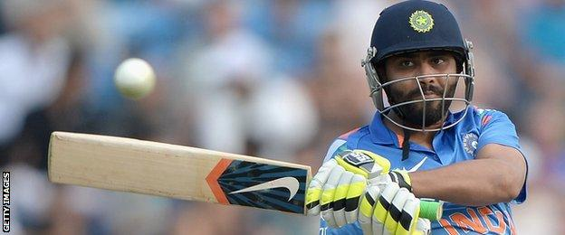 Ravindra Jadeja hit nine fours and two sixes in his quickfire 87 at the end of the India innings