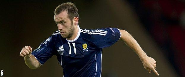 James McFadden playing for Scotland