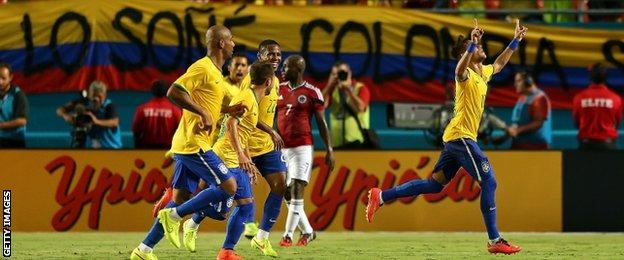 Neymar celebrates his winning goal for Brazil in their 1-0 friendly victory over Colombia.