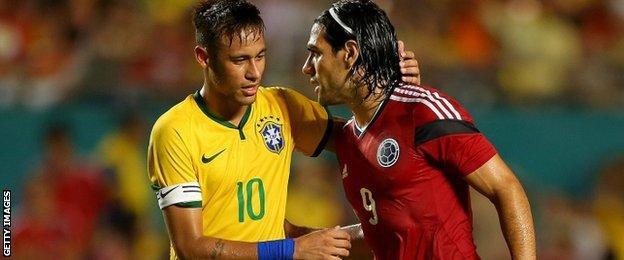 Neymar shakes hands with Colombia striker Radamel Falcao