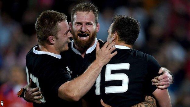 New Zealand trio Sam Cane, Kieran Reed and Israel Dagg celebrate
