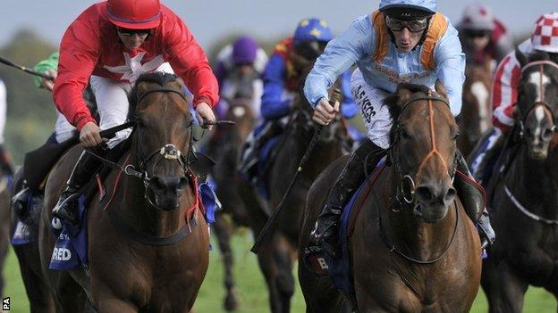 G Force (right) wins the Betfred Sprint Cup at Haydock