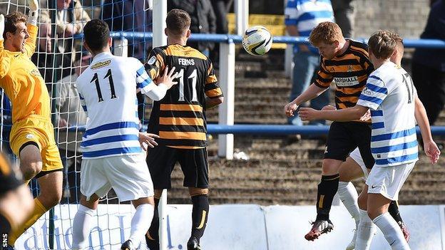Ryan McCord scores for Alloa Athletic against Greenock Morton