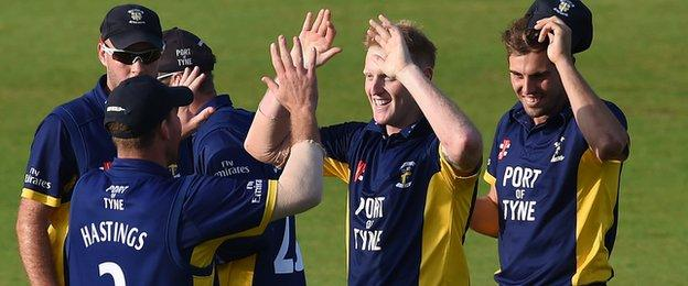 England allrounder Ben Stokes celebrates Durham's One-Day Cup semi-final win over Notts with his team-mates