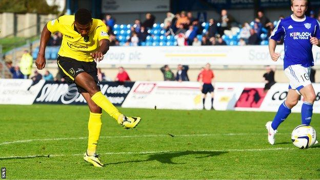 Myles Hippolyte scores for Livingston against Peterhead